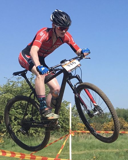 Sam Trotter gets airborne during his Mud Sweat & Gears Eastern Series race. Picture: ESTHER PAULEY