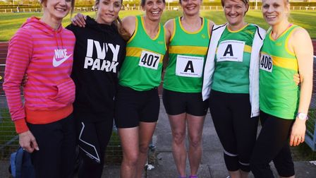 Hunts AC ladies who starred in the Eastern Veterans' League are, from the left, Amy Frary, Claire Hu