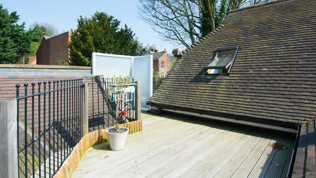 The first floor property comes complete with its own roof terrace