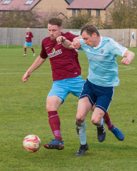 Ben Yeomans (right) brought up a century of league goals for Godmanchester Rovers during their win a