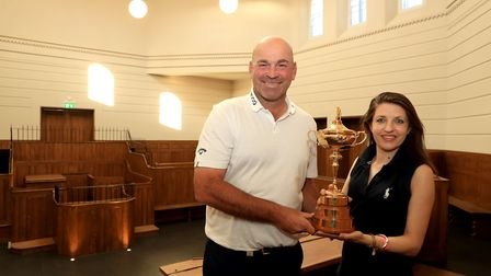 Thomas Bjorn and Annie Brewster. Picture: Andrew Redington