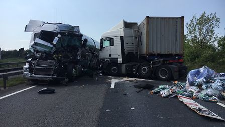 Two lorries were involved in the incident. Picture: CFRS