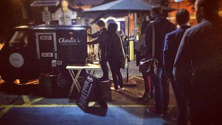 Charlie's Coffee and Company van is popular with commuters.