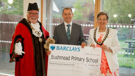 A cheque was handed over to Bushmead School