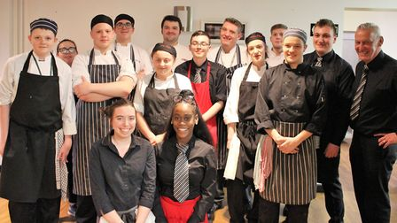 The group of student chefs at Oaklands College with Harry Lumsdon (middle of back row).