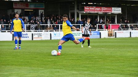 Zane Banton fires St Albans City level on the stroke of half-time at half-time. Picture: BOB WALKLEY
