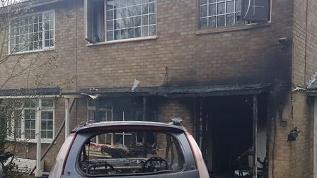 The house and car fire in Therfield. Picture: Royston fire station