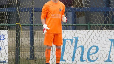 Goalkeeper George Bugg was sent off during his St Neots Town senior debut. Picture: CLAIRE HOWES