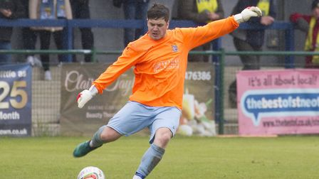 Defender Jack Bradshaw took over in goal for 10-man St Neots Town after George Bugg was sent off. Pi