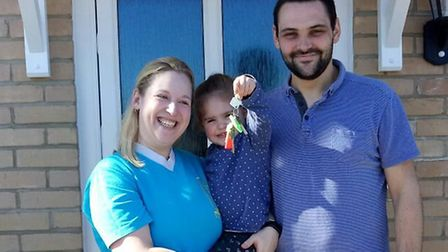 Vicky Thompson, with husband Ricky and daughter Bethany. Picture: Courtesy of Ricky Thompson