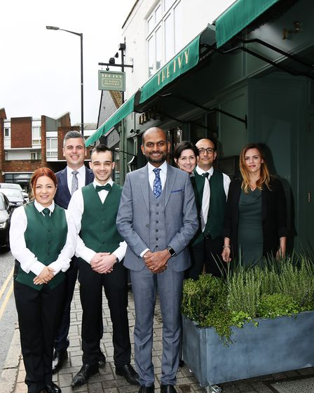 The Ivy St Albans Brasserie general manager Karthikeyan Chandran and his team. Picture: DANNY LOO