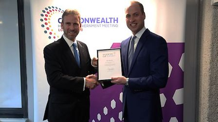 Rob Mather being presented his certificate by the Duke of Cambridge, Prince William. Picture supplie