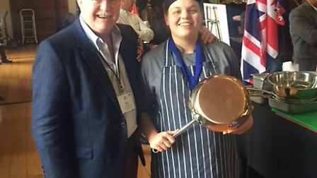 Leanna Bromley-Higgs with Mark Jones, managing director of Wyboston Lakes. Picture: CONTRIBUTED
