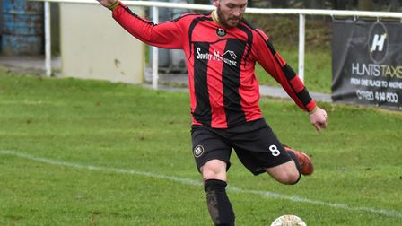 Jonny Hall scored a late winner for Huntingdon Town. Picture: J BIGGS PHOTOGRAPHY