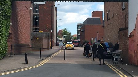 Road blockage by Russell Avenue car park. Picture: Archant