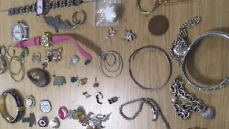 Jewellery recovered by police in Park Street, St Albans. Picture: Herts Police.