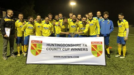 Catworth celebrate their Hunts Sunday Cup win. Picture: HUNTS FA