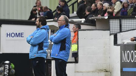 Lee and Ian Allinson share the St Albans City dugout for the last time. Picture: BOB WALKLEY