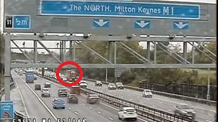 There has been a collision on the M1 near Luton. Picture: Highways England