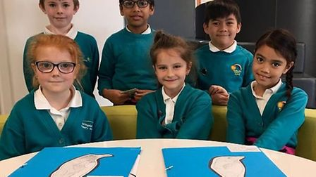 """Pupils at Huntingdon Prrimary School celebrate a """"good"""" Ofsted rating"""