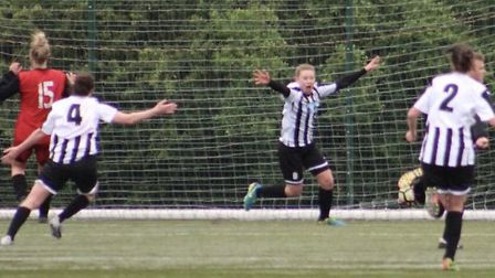 Georgia Stancombe celebrates her late winner in St Ives Town Ladies' triumph at Netherton. Picture: