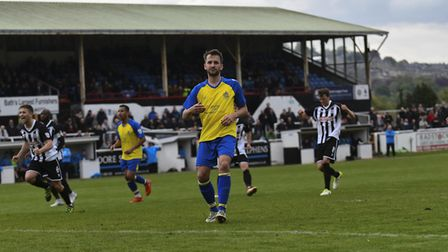 Sam Merson misses a late penalty for St Albans City away to Bath. Picture: BOB WALKLEY