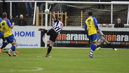 Tom Smith thumps in Bath City's opening goal. Picture: BOB WALKLEY