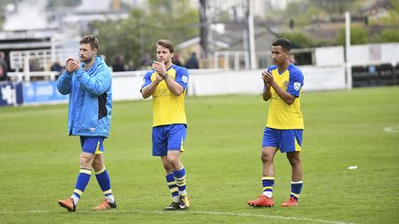 St Albans City's players acknowledge the travelling support at the end of the game. Picture: BOB WAL