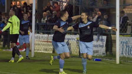 David Bridges (right) celebrates one of his two St Neots Town goals with Liam McDevitt. Picture: CLA