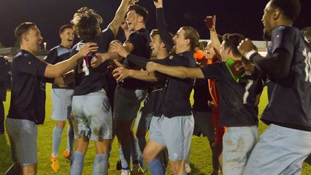 St Neots Town celebrate a first Hunts Senior Cup final triumph in four years. Picture: CLAIRE HOWES