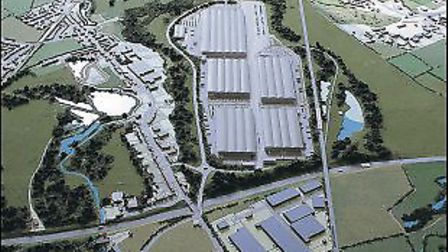 Computer-generated image of the proposed rail freight terminal in Park Street