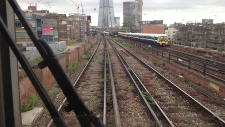 The approach to London Bridge station on the Thameslink line
