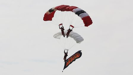 The Red Devils put on a parachute display as Royal Enfield launch a limited edition motorbike based