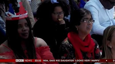 Syeda Momotaz Rahim (right) captured by the BBC watching the Royal Wedding. Picture: BBC