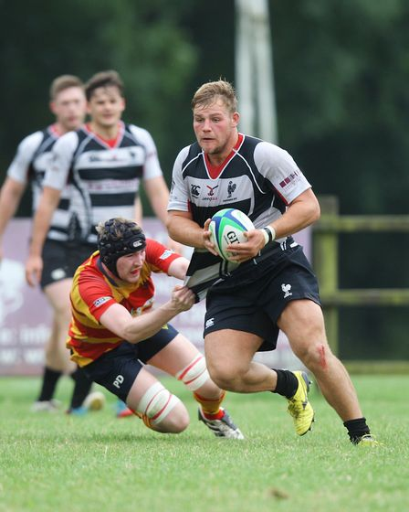 Old Albanian's Ollie Walliker, seen in action for Harpenden, will be on the bench at Twickenham. Pic
