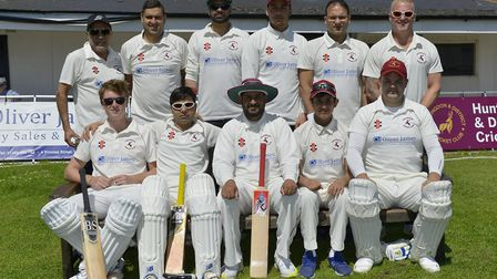 Huntingdon & District, pictured ahead of their defeat against Thriplow last Saturday are, back row,
