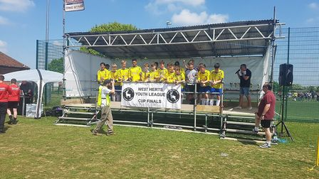 The successful St Albans City Youth U15 side who won the WHYL Challenge Cup.