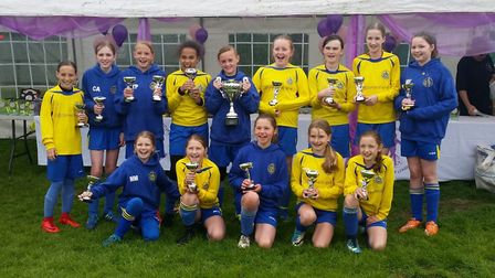 St Albans City Youth U11 Girls North who won the Hertfordshire County Cup.