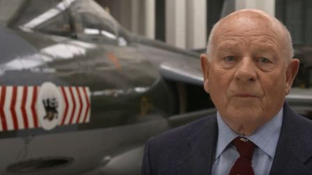 Stan Dell - sat beside a Hawker Hunter jet - shared his Duxford memories with the Royston Crow. Pict