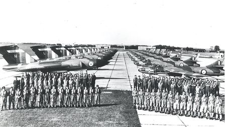 Gloster Javelin's of 64 squadron and Hawker Hunters of 65 squadron at RAF Duxford in 1958. Picture: