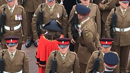 Mayor of Huntingdon Cllr Sarah Gifford inspects troops from the Prrincess of Wales's Royal Regiment