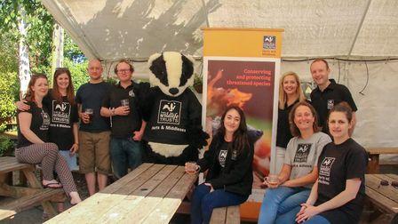 Herts & Middlesex Wildlife Trust and Farr Brew in the Ye Olde Fighting Cocks beer garden.