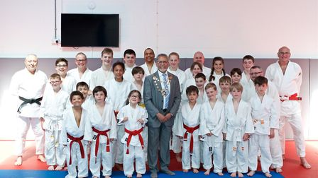 St Albans mayor Mohammed Iqbal Zia and the St Albans Judo Club. Picture: William Jarra.