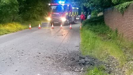 Police and the fire service attended an explosion in Back Lane, Melbourn. Picture: @RoadpoliceBCH