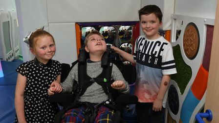 Daisy Bell, William Carlson, and Mackenzie Grimmer at the opening of the new sensory room. Picture: