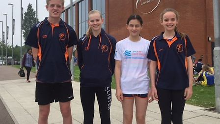 St Ives swimmers at the Regional Championships are, from the left, James Quinn, Ciara Taylor, Bethan