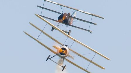 The Fokker DRI Triplane closes in on a Sopwith Triplane. Picture: Gerry Weatherhead