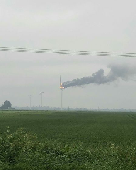 A fire has broken out at a wind turbine in the Fens. PHOTO: Mathew Masiarz