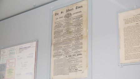 The first ever edition of the Herts Advertiser, known as The St Albans Times on display in the Westo
