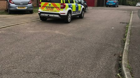 Police cars and vans were parked outside the home